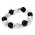 Black/ White Ceramic Bead Flex Bracelet - 21cm Length - view 6