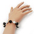 Black/ White Ceramic Bead Flex Bracelet - 21cm Length - view 3