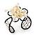 Light Cream Shell 'Flower' Wired Cuff Bracelet - Adjustable