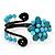 Turquoise Beaded 'Flower' Flex Bangle Bracelet - Adjustable - view 7
