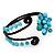 Turquoise Beaded 'Flower' Flex Bangle Bracelet - Adjustable - view 5