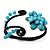Turquoise Beaded 'Flower' Flex Bangle Bracelet - Adjustable - view 9