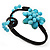 Turquoise Beaded 'Flower' Flex Bangle Bracelet - Adjustable - view 6