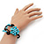 Turquoise Beaded 'Flower' Flex Bangle Bracelet - Adjustable - view 2