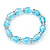 Pale Blue Glass Bead With Clear Crystals Silver Rings Flex Bracelet - 18cm Length