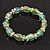 Light Green Glass Bead With Clear Crystals Silver Rings Flex Bracelet - 18cm Length