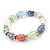 Multicoloured Glass Bead With Clear Crystals Silver Rings Flex Bracelet - 18cm - view 6
