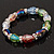 Multicoloured Glass Bead With Clear Crystals Silver Rings Flex Bracelet - 18cm - view 4