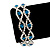 Two Row Clear/ Turquoise Coloured Swarovski Crystal Bracelet - 17cm Length (7cm extension)