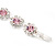 Pink/Clear Swarovski Crystal Floral Bracelet In Rhodium Plated Metal - 17cm Length - view 11