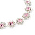 Pink/Clear Swarovski Crystal Floral Bracelet In Rhodium Plated Metal - 17cm Length - view 5