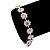 Pink/Clear Swarovski Crystal Floral Bracelet In Rhodium Plated Metal - 17cm Length - view 4