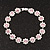 Pink/Clear Swarovski Crystal Floral Bracelet In Rhodium Plated Metal - 17cm Length - view 7