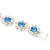 Light Blue /Clear Swarovski Crystal Floral Bracelet In Rhodium Plated Metal - 17cm Length - view 11