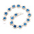 Light Blue /Clear Swarovski Crystal Floral Bracelet In Rhodium Plated Metal - 17cm Length - view 9