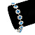 Light Blue /Clear Swarovski Crystal Floral Bracelet In Rhodium Plated Metal - 17cm Length - view 3
