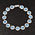 Light Blue /Clear Swarovski Crystal Floral Bracelet In Rhodium Plated Metal - 17cm Length - view 7