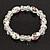 Floral White/Transparent Glass Bead & Crystal Ring Flex Bracelet - Up to 21cm Length
