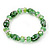 Floral Green Glass Bead & Crystal Ring Flex Bracelet - Up to 21cm Length
