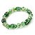 Floral Green Glass Bead & Crystal Ring Flex Bracelet - Up to 21cm Length - view 4