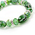 Floral Green Glass Bead & Crystal Ring Flex Bracelet - Up to 21cm Length - view 3