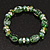 Floral Green Glass Bead & Crystal Ring Flex Bracelet - Up to 21cm Length - view 2