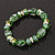 Floral Green Glass Bead & Crystal Ring Flex Bracelet - Up to 21cm Length - view 5