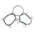 3-Strand Turquoise Stone & Silver Metal Bead 'Heart' Charm Flex Bracelet - 19cm Length - view 6