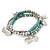 3-Strand Turquoise Stone & Silver Metal Bead 'Heart' Charm Flex Bracelet - 19cm Length - view 7