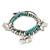3-Strand Turquoise Stone & Silver Metal Bead 'Heart' Charm Flex Bracelet - 19cm Length - view 3