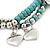 3-Strand Turquoise Stone & Silver Metal Bead 'Heart' Charm Flex Bracelet - 19cm Length - view 5