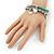 3-Strand Turquoise Stone & Silver Metal Bead 'Heart' Charm Flex Bracelet - 19cm Length - view 4
