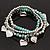 3-Strand Turquoise Stone & Silver Metal Bead 'Heart' Charm Flex Bracelet - 19cm Length