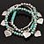 3-Strand Turquoise Stone & Silver Metal Bead 'Heart' Charm Flex Bracelet - 19cm Length - view 2