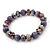 Purple Glass Bead Flex Bracelet - 18cm Length - view 4