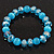 Ligth Blue Glass Bead Flex Bracelet - 18cm Length