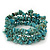 Turquoise Bead Coil Flex Bangle Bracelet (Semi-precious stone) - Adjustable