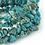 Turquoise Bead Coil Flex Bangle Bracelet (Semi-precious stone) - Adjustable - view 2