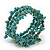 Turquoise Bead Coil Flex Bangle Bracelet (Semi-precious stone) - Adjustable - view 4