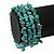 Turquoise Bead Coil Flex Bangle Bracelet (Semi-precious stone) - Adjustable - view 5