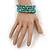 Turquoise Bead Coil Flex Bangle Bracelet (Semi-precious stone) - Adjustable - view 6