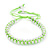 Plaited Neon Lime Green Silk Cord With Silver Tone Bead Friendship Bracelet - Adjustable
