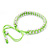 Plaited Neon Lime Green Silk Cord With Silver Tone Bead Friendship Bracelet - Adjustable - view 5