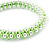Plaited Neon Lime Green Silk Cord With Silver Tone Bead Friendship Bracelet - Adjustable - view 4
