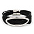 Silver Tone Oval Black Cotton Cord Magnetic Bracelet - 19cm Length - view 8