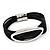 Silver Tone Oval Black Cotton Cord Magnetic Bracelet - 19cm Length - view 7