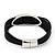 Silver Tone Oval Black Cotton Cord Magnetic Bracelet - 19cm Length - view 5