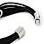 Silver Tone Oval Black Cotton Cord Magnetic Bracelet - 19cm Length - view 6