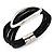 Silver Tone Oval Black Cotton Cord Magnetic Bracelet - 19cm Length - view 4