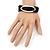 Silver Tone Oval Black Cotton Cord Magnetic Bracelet - 19cm Length - view 2